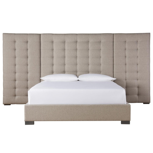Camille Box-Tufted Extended Headboard Grey Upholstered King Bed,788220BW