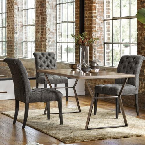 Aldrich Dark Grey Button-Tufted Dining Room Chair