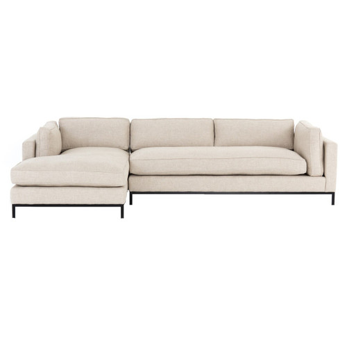Grammercy Modern Sand Fabric 2 Piece Sectional Sofa, LAF