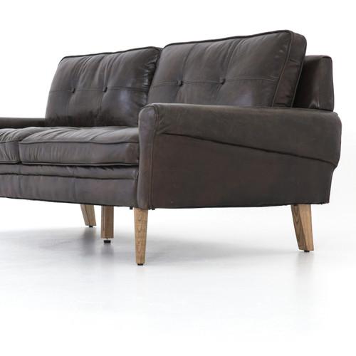 Bain Vintage Espresso Leather Tufted Sofa 75\