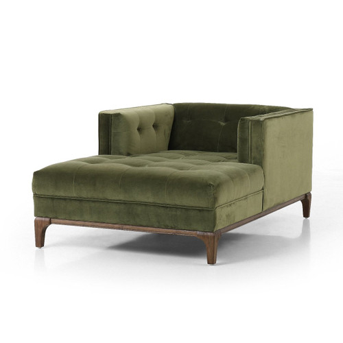 Dylan Green Velvet Tufted Midcentury Chaise Lounge