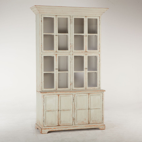 Vintage Solid Wood China Cabinet Hutch with Glass Doors