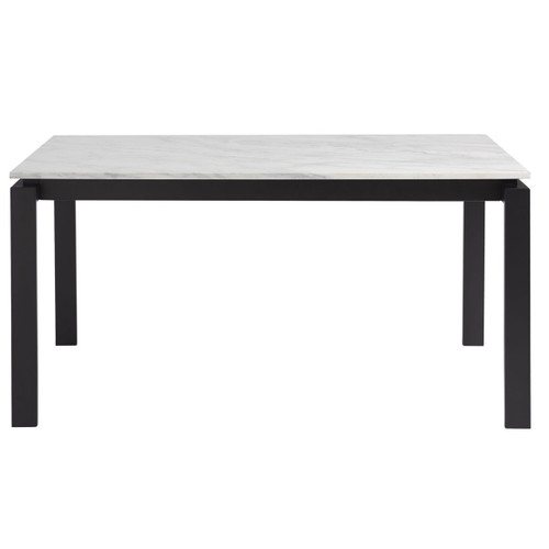 Parsons White Marble Top/ Dark Bronze Base Dining Tables 74""
