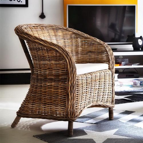 Coastal Wicker Dining Armchair with Cushion