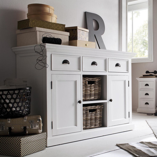 Coastal French White Buffet With Basket Storage