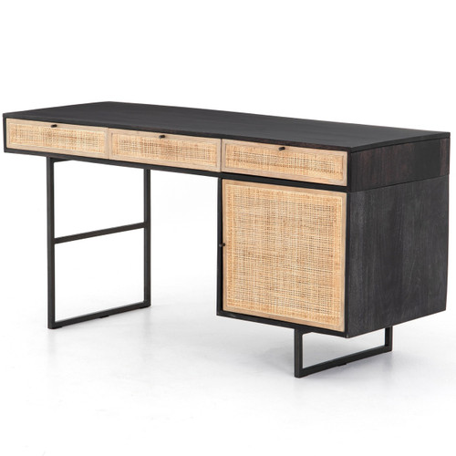 "Audrey Woven Cane Wicker Writing Desk 60""-Black"