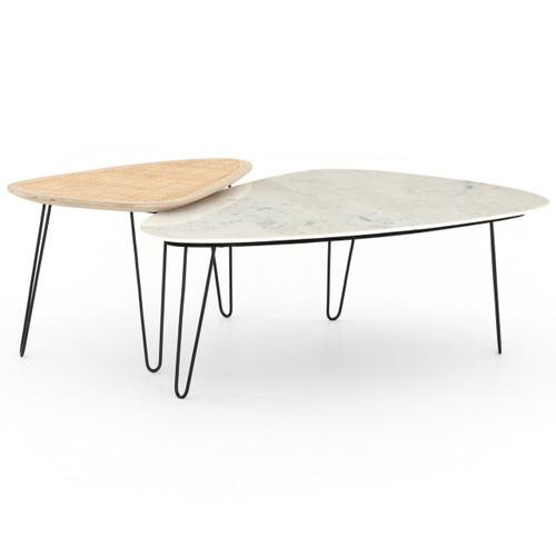 Coastal Industrial Woven Wicker + Marble Coffee Tables