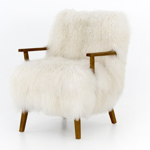 Ash Cream Mongolian Fur Accent Chair