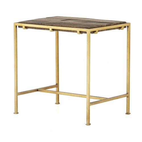 Barton Brass Frame Slab Wood End Table