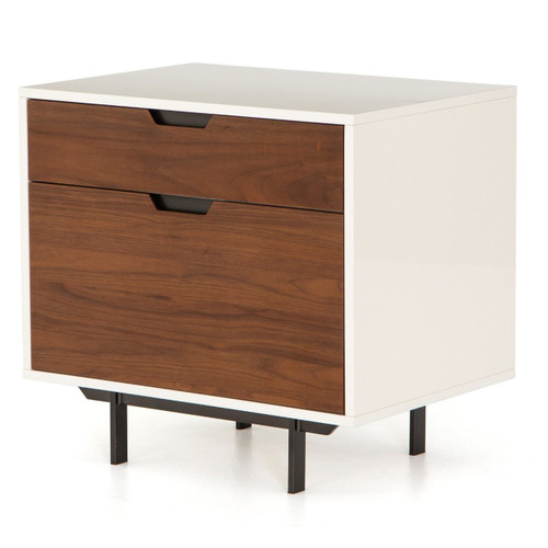 Mid-Century Modern White Lacquer Filing Cabinet -Walnut