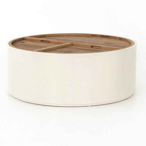 """Tucker Cream Lacquer Drum Coffee Table with Tray 42"""""""