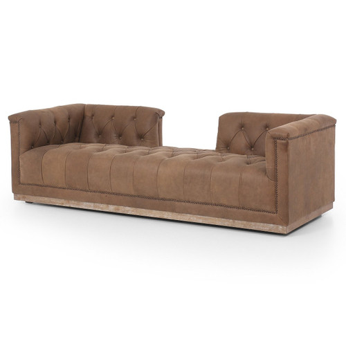 "Maxx Tufted Chaise Daybeds 87"",Umber Grey Brown Leather"