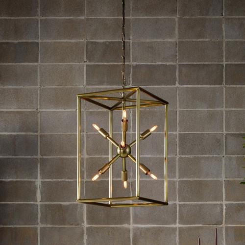 """Sputnik Industrial Aged Brass Caged Chandelier 25"""""""