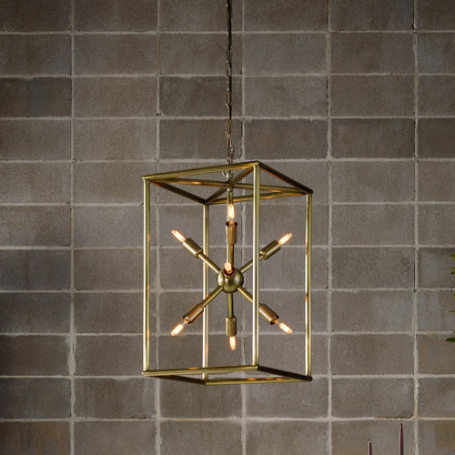 Sputnik Industrial Aged Brass Caged Chandelier 25""
