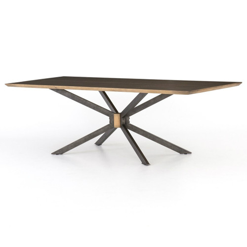 Industrial Spider Leg Brass Clad Top Dining Table 94""