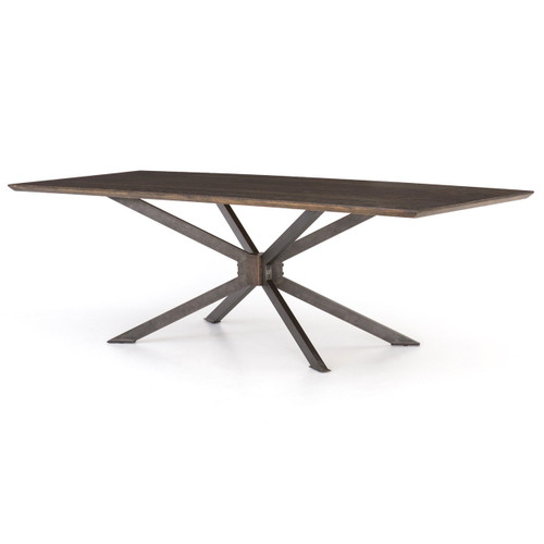 "Industrial Spider Leg Brown Oak Dining Table 79"""