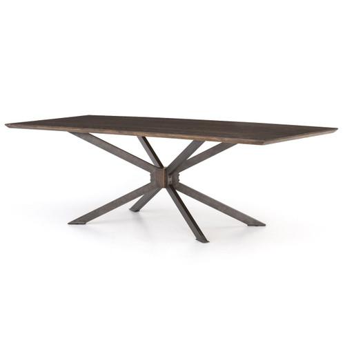 "Industrial Spider Leg Brown Oak Dining Table 94"""