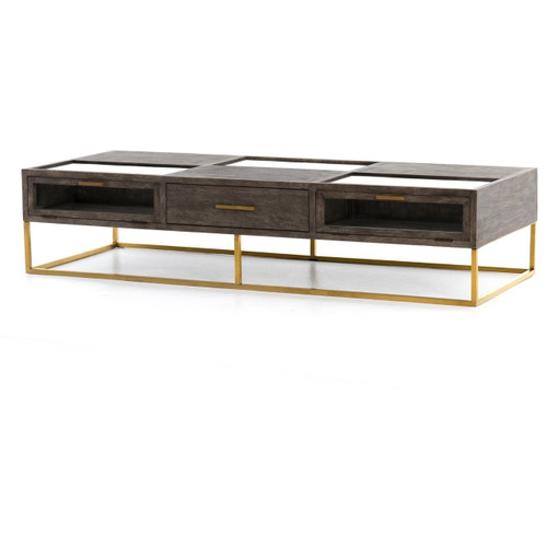 "Andreas Oak Wood Shadow Box Large Coffee Table 71"""
