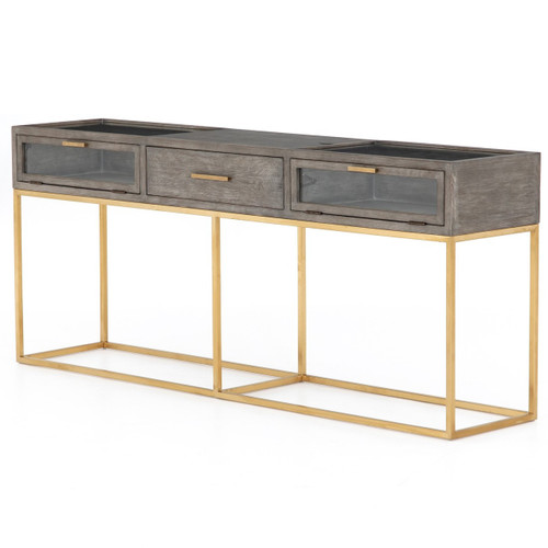 Andreas Oak Wood Shadow Box Console Table 71""