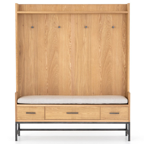 Baylor Oak Entry Bench with Storage and Coat Rack