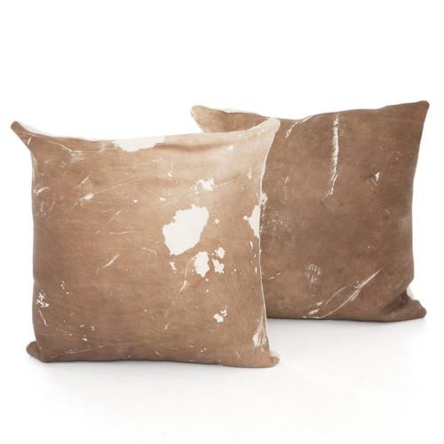 Modern Warm Brown Cowhide Pillows, Set Of 2
