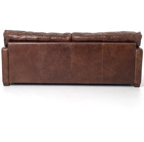 Larkin 3 Seater Vintage Cigar Contemporary Leather Sofa   Zin Home