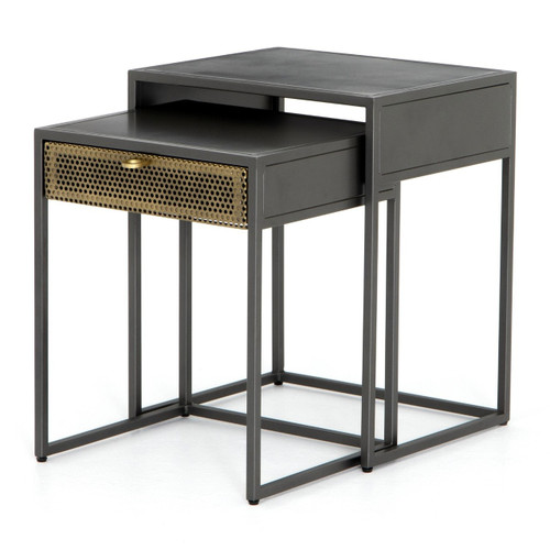 Hendrick Industrial Mesh Nesting End Tables