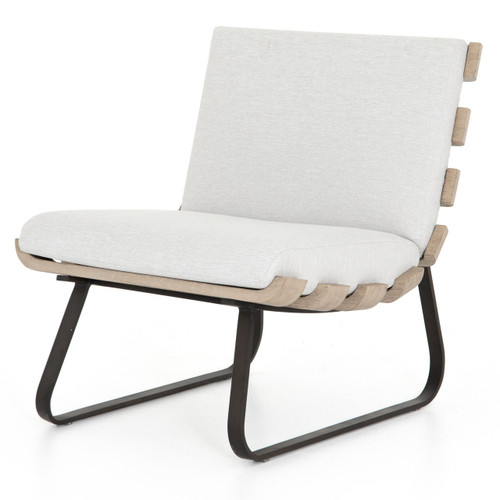 Dimitri Teak Wood Grey Armless Outdoor Chair
