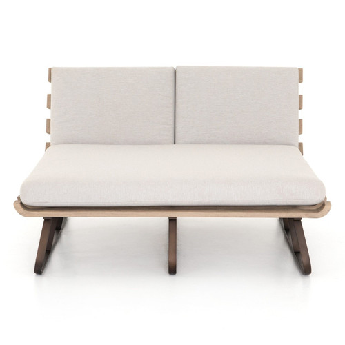 Dimitri Teak Wood Grey Outdoor Double Chaise Daybed Zin Home