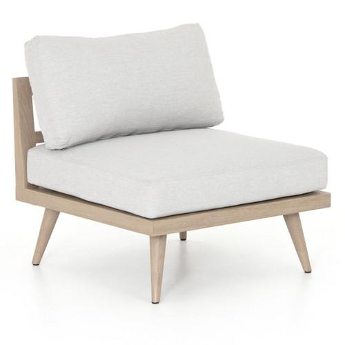Tilly Modern Brown Teak Wood Armless Outdoor Chair