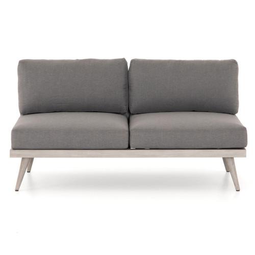 Tilly Modern Grey Teak 2-Seater Armless Outdoor Sofa 60\