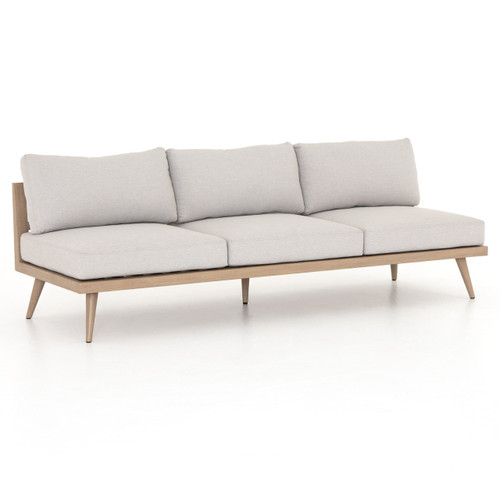 Tilly Modern Brown Teak 3-Seat Armless Outdoor Sofa 90""
