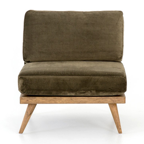 Tilly Retro Modern Green Velvet Armless Club Chair Zin Home