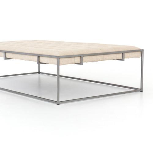 Marvelous Oxford Tufted Linen Square Ottoman Coffee Table 36 Machost Co Dining Chair Design Ideas Machostcouk