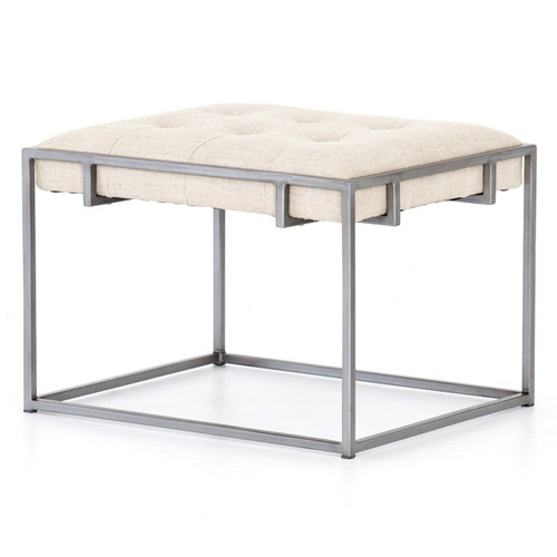 Oxford Tufted Linen Ottoman End Table