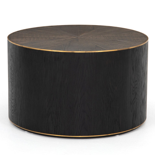 """Perry Reclaimed Oak Round Drum Coffee Table 26"""""""