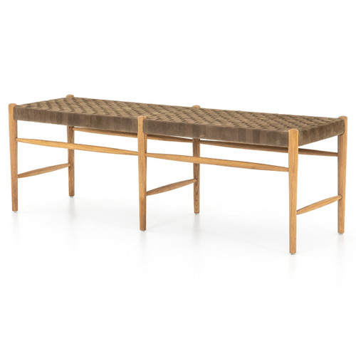 Wyatt Woven Leather Bench 57""