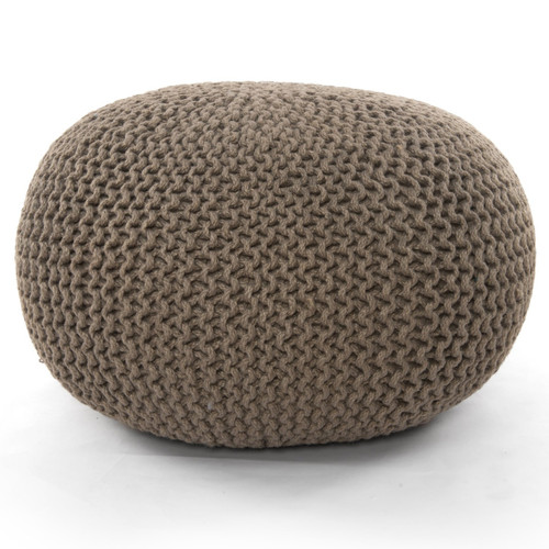 Knitted Neutral Sage Jute Pouf ,IWIL-197