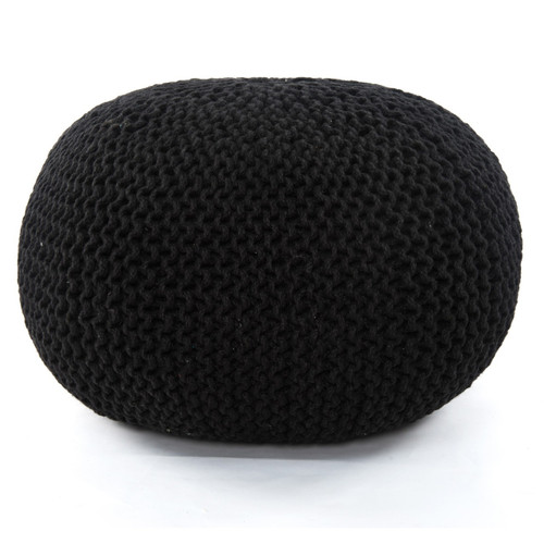 "Knitted Black Jute Pouf 30"",IWIL-198"