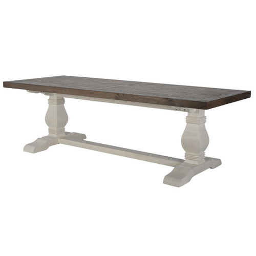 Coastal Farmhouse Reclaimed Wood Double Trestle Table 94""