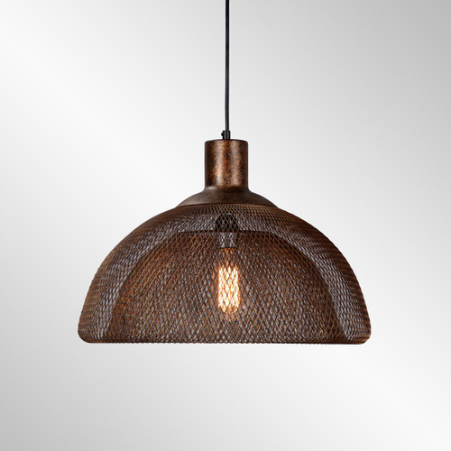 Industrial Mesh Aged Copper Pendant 18""