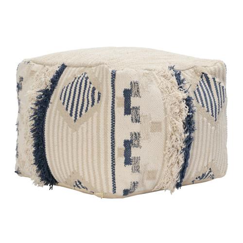 Moroccan Hand-Woven Cream + Navy Pouf