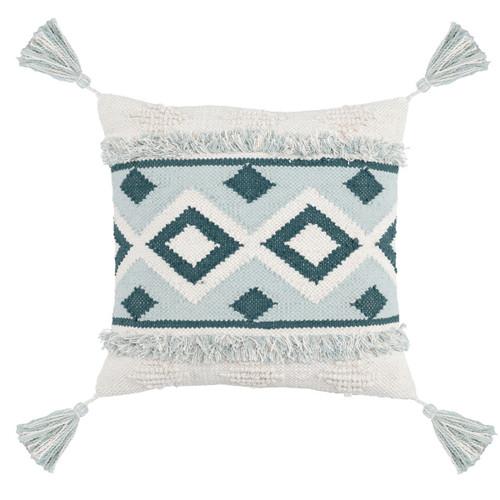 """Moroccan Woven Cream + SkyBlue Throw Pillow 20"""""""