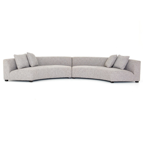 Liam Modern Grey 2 Piece Curved Sectional Sofa
