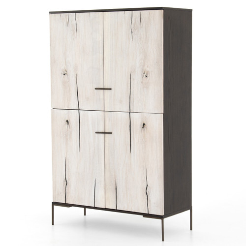 Cuzco Bleached Yukas Wood 4 Door Tall Cabinet 71""