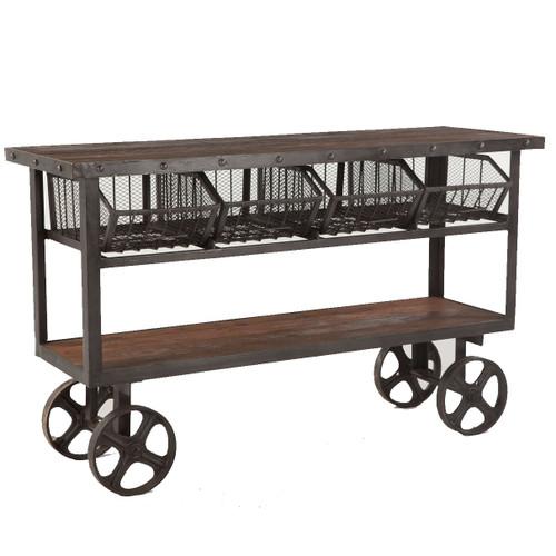 "Industrial Teak + Iron Rolling Kitchen Cart 60"""