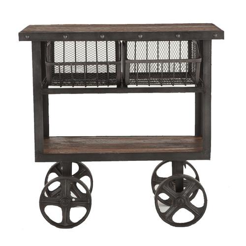 "Industrial Teak + Iron Rolling Kitchen Cart 36"""