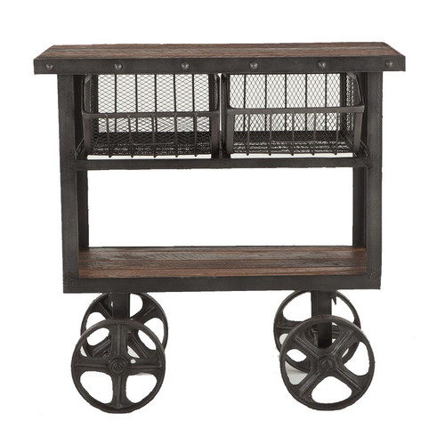 Industrial Teak + Iron Rolling Kitchen Cart 36""