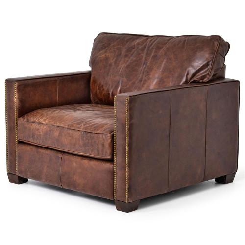 Larkin Vintage Cigar Distressed Leather Club Chair