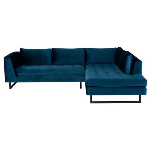 """Janis Blue Velvet Tufted Sectional Sofa 105"""""""